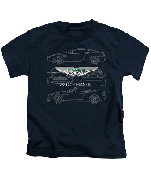 Aston Martin 3 D Badge Over Aston Martin D B 9 Blueprint Kids T-Shirt