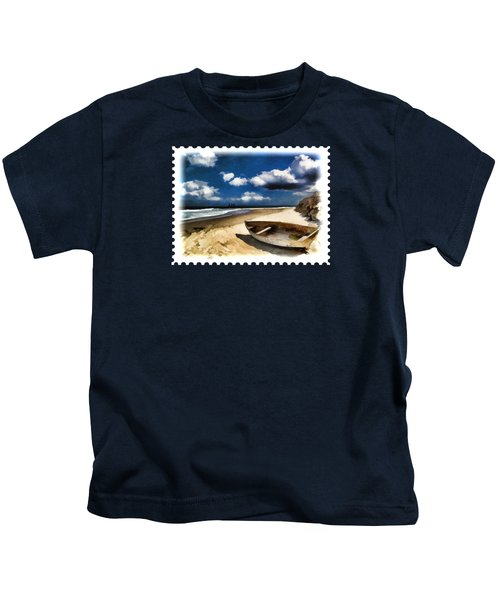 Beached Boat Before The Storm Kids T-Shirt