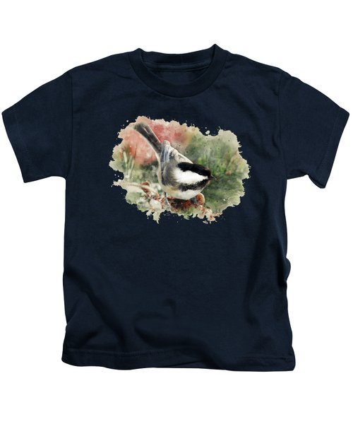 Beautiful Chickadee - Watercolor Art Kids T-Shirt