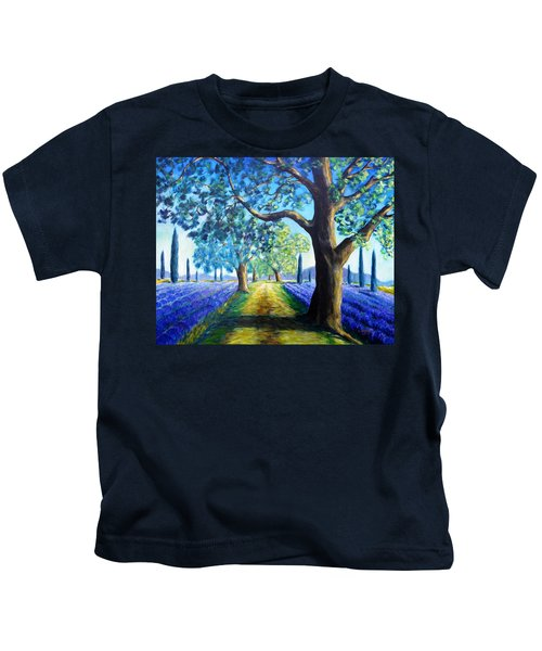 Between The Lavender Fields Kids T-Shirt