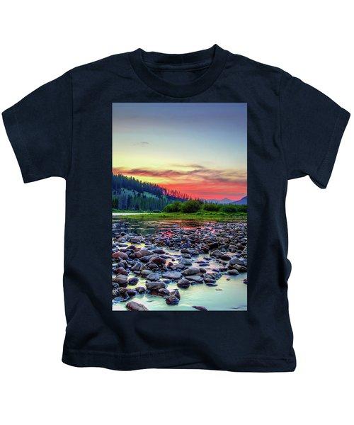 Big Hole River Sunset Kids T-Shirt