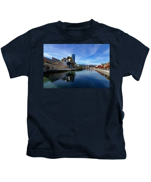 Bilbao In Autumn With Blue Skies Next To The River Nervion Kids T-Shirt