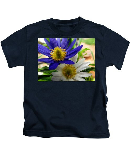Blue And White Anemones Kids T-Shirt