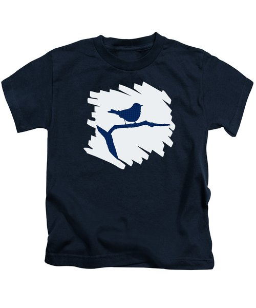 Blue Bird Silhouette Modern Bird Art Kids T-Shirt by Christina Rollo