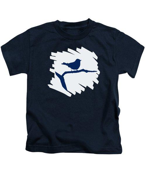 Blue Bird Silhouette Modern Bird Art Kids T-Shirt