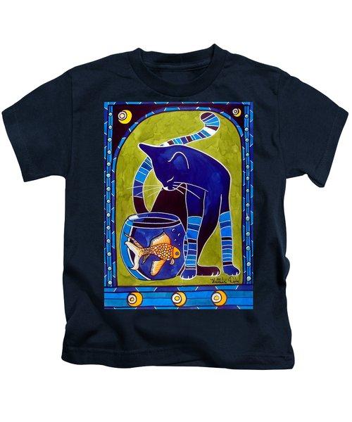 Blue Cat With Goldfish Kids T-Shirt