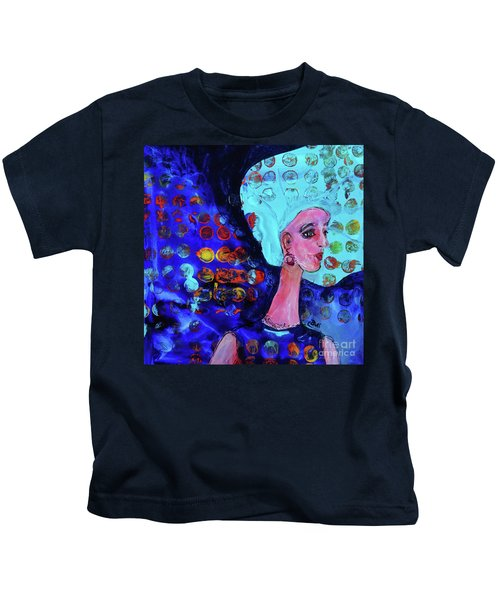 Blue Haired Girl On Windy Day Kids T-Shirt
