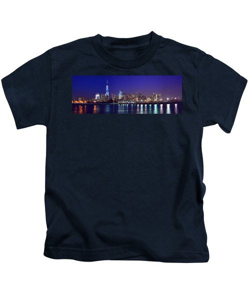 Blue Hour Panorama New York World Trade Center With Freedom Tower From Liberty State Park Kids T-Shirt
