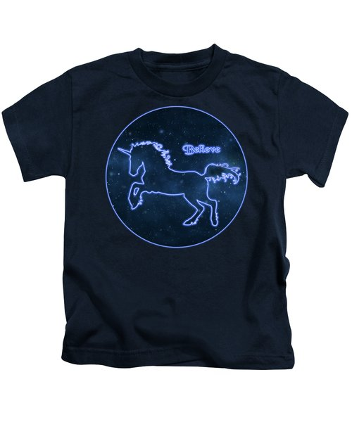 Blue Neon Light Unicorn Text Believe Kids T-Shirt