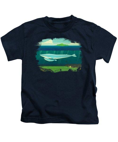 Blue Whale Kids T-Shirt by David Ardil