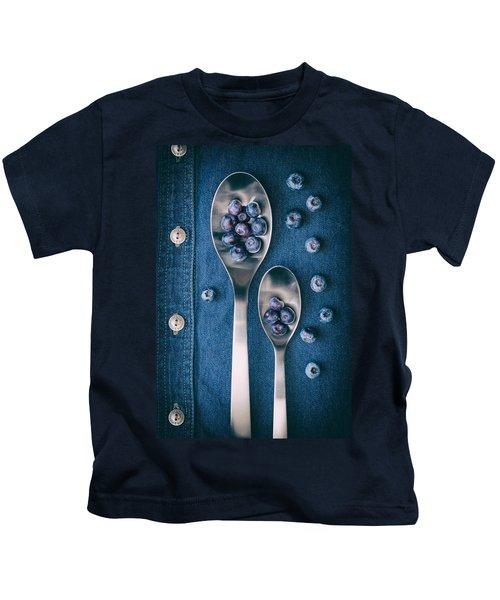 Blueberries On Denim I Kids T-Shirt