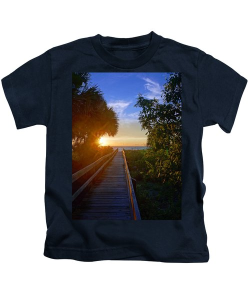 Sunset At The End Of The Boardwalk Kids T-Shirt
