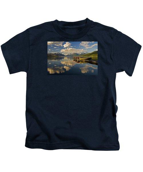 Boats At Lake Mcdonald Kids T-Shirt