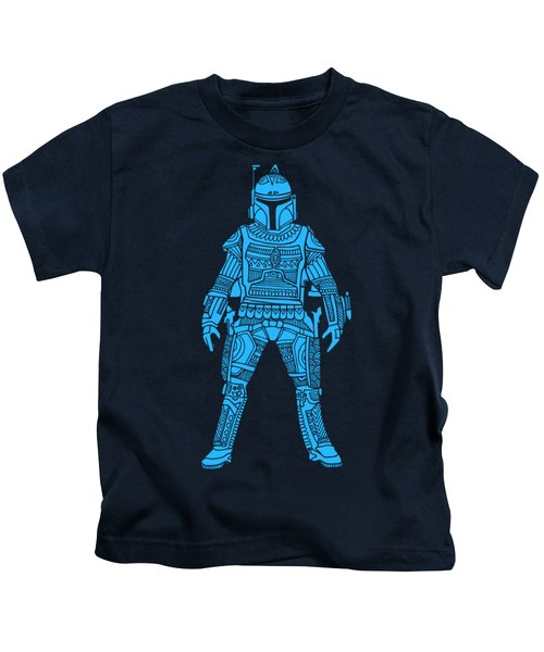 Boba Fett - Star Wars Art, Blue Kids T-Shirt