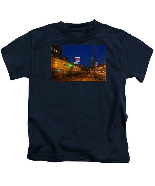 Boston Ma Green Line Train On The Move Kids T-Shirt