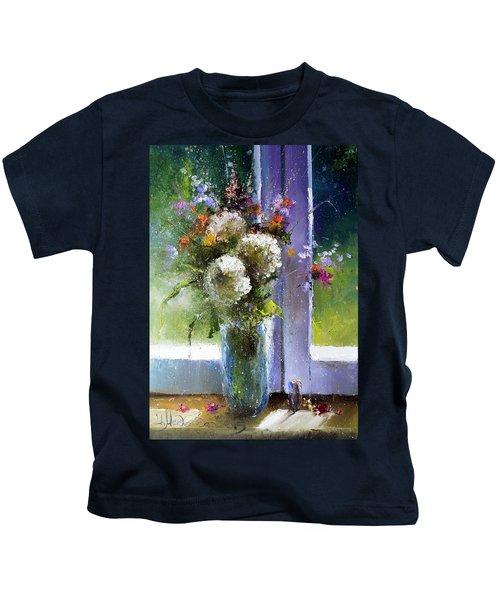 Bouquet At Window Kids T-Shirt