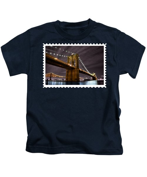 Brooklyn Bridge At Night New York City Kids T-Shirt