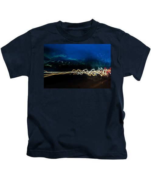 Car Light Trails At Dusk In City Kids T-Shirt