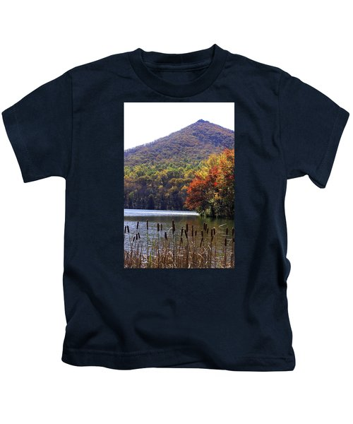 Cattails By Lake With Sharp Top In Background Kids T-Shirt