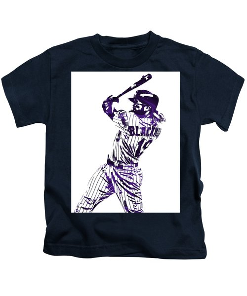 Charlie Blackmon Colorado Rockies Pixel Art 5 Kids T-Shirt