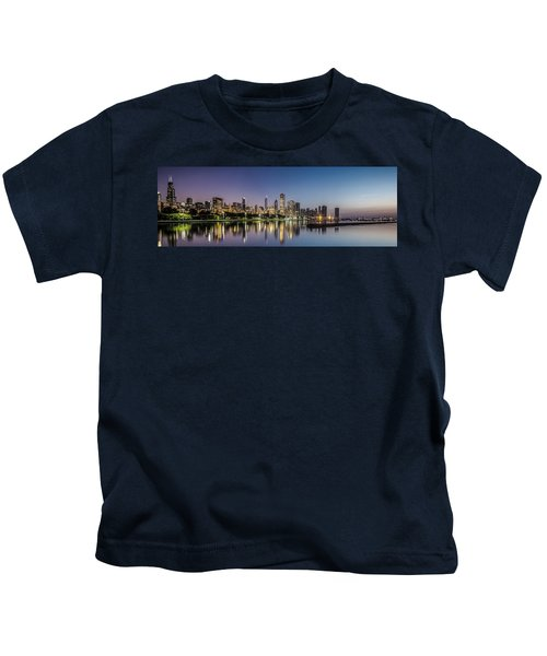 Chicago Skyline At Dawn With A Panoramic Crop  Kids T-Shirt