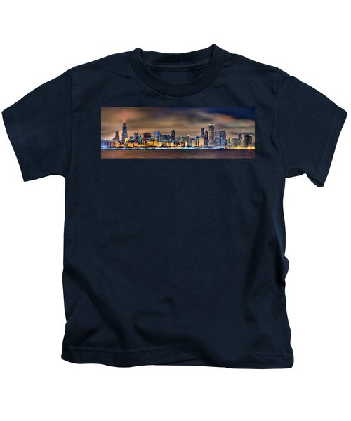 Chicago Skyline At Night Panorama Color 1 To 3 Ratio Kids T-Shirt