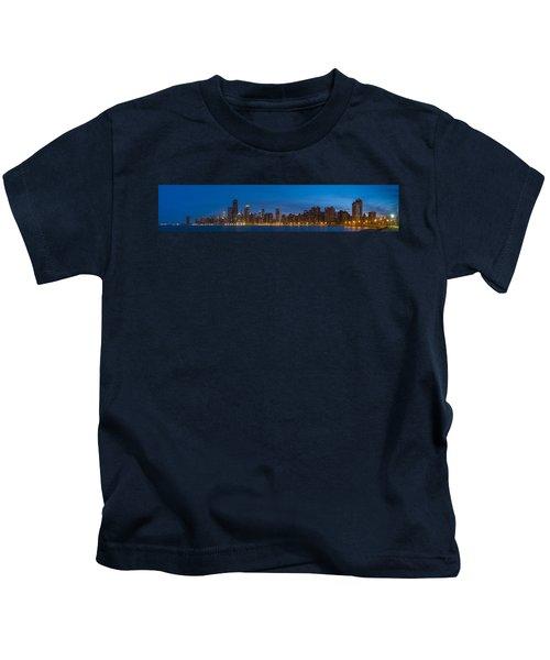 Chicago Skyline From North Ave Beach Panorama Kids T-Shirt