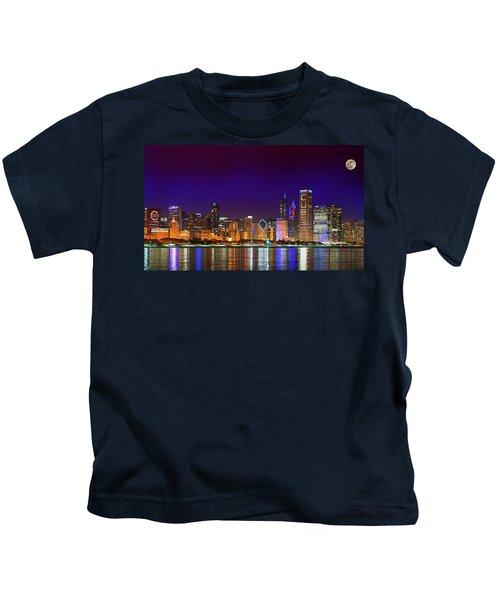 Chicago Skyline With Cubs World Series Lights Night, Moonrise, Lake Michigan, Chicago, Illinois Kids T-Shirt