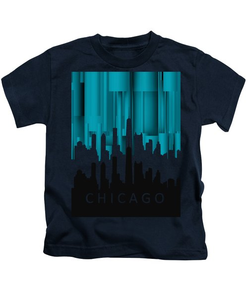 Chicago Turqoise Vertical In Negetive Kids T-Shirt