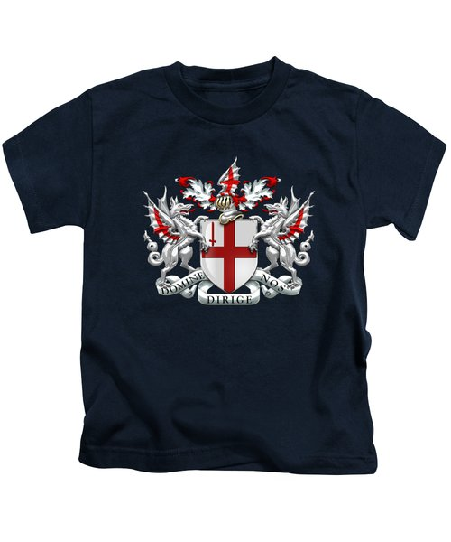 City Of London - Coat Of Arms Over Blue Leather  Kids T-Shirt