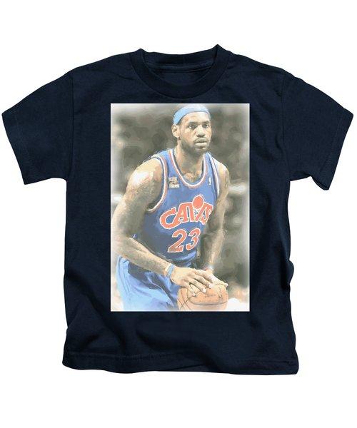 Cleveland Cavaliers Lebron James 1 Kids T-Shirt by Joe Hamilton