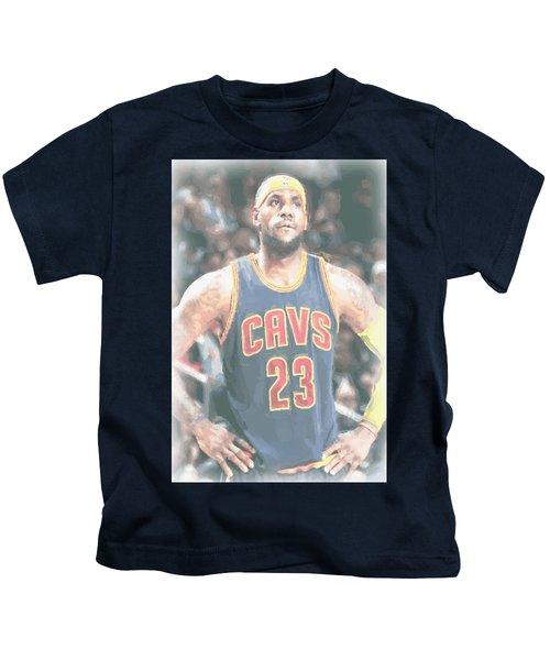 Cleveland Cavaliers Lebron James 5 Kids T-Shirt by Joe Hamilton