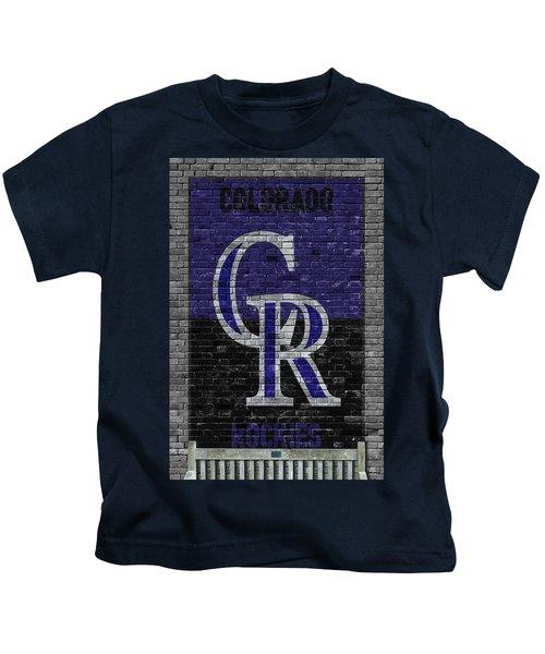 Colorado Rockies Brick Wall Kids T-Shirt