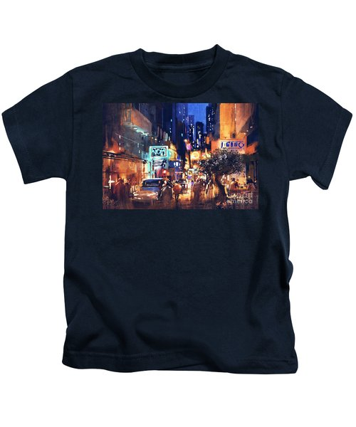 Kids T-Shirt featuring the painting Colorful Night Street by Tithi Luadthong