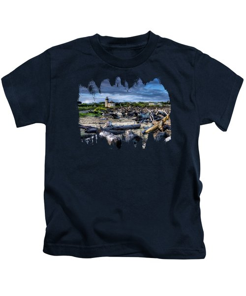 Coquille River Lighthouse And Driftwood Kids T-Shirt