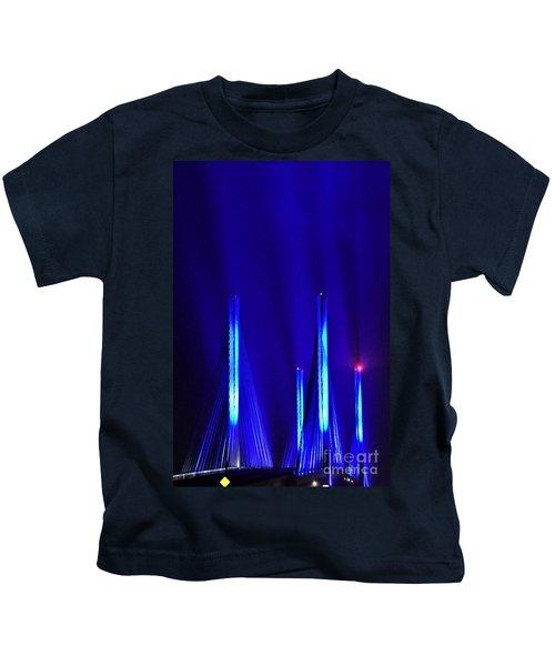 Blue Light Rays - Indian River Inlet Bridge Kids T-Shirt