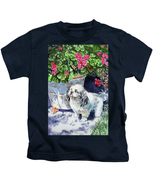 Cute Shih Tzu Dog Under Geranium  Kids T-Shirt