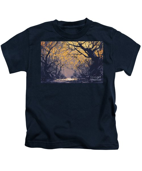 Kids T-Shirt featuring the painting Dark Forest by Tithi Luadthong