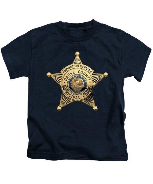 Darke County Municipal Court - Probation Officer Badge Over Blue Velvet Kids T-Shirt
