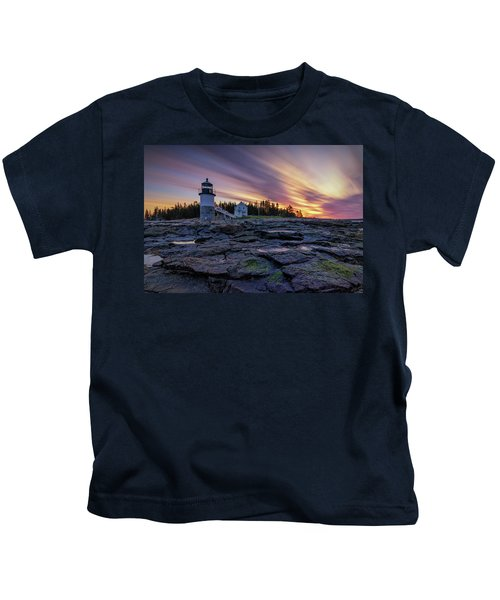 Dawn Breaking At Marshall Point Lighthouse Kids T-Shirt