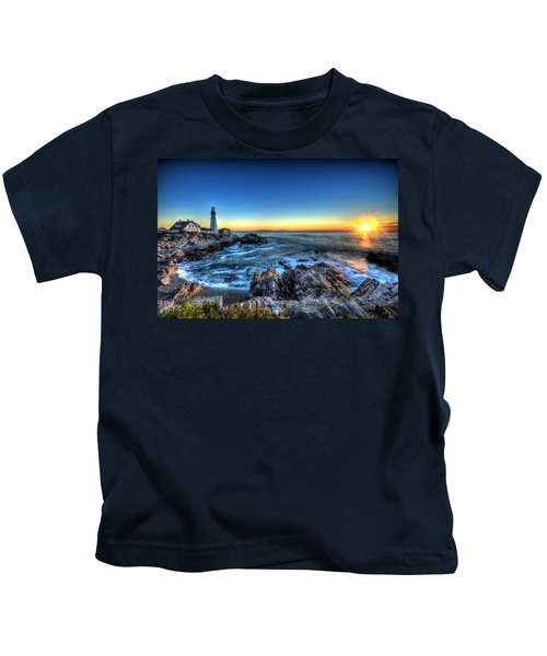 Dawn At Portland Head Lighthouse Kids T-Shirt