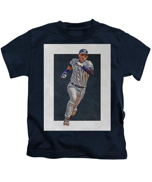 Derek Jeter New York Yankees Art 3 Kids T-Shirt by Joe Hamilton