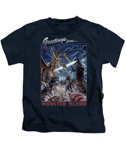 Destroy All Monsters Godzilla Kaiju Battle Monster Island  Kids T-Shirt