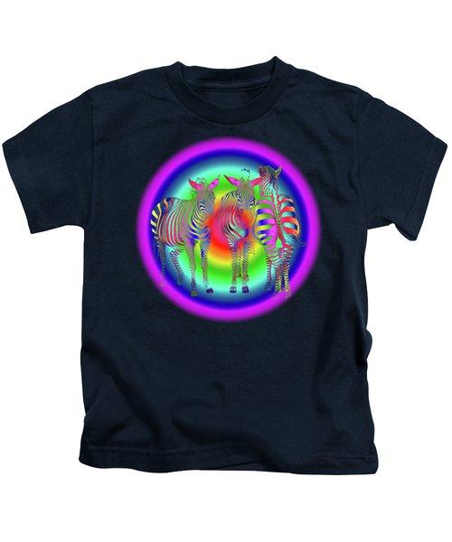 Disco Zebra Pop Art Kids T-Shirt by Gill Billington