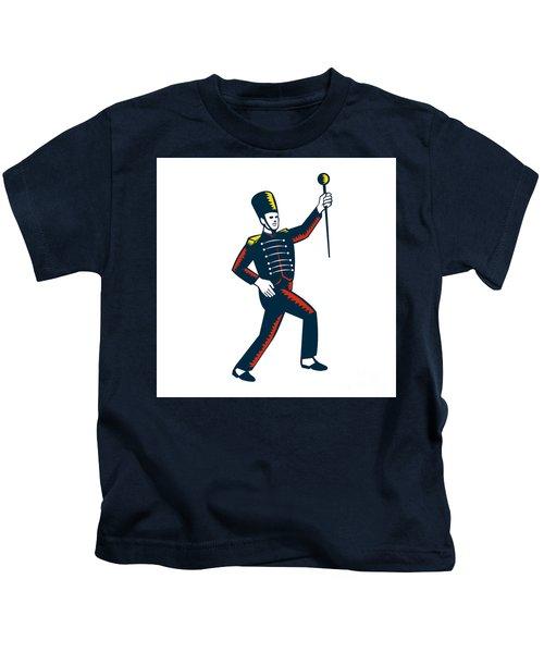 Drum Major Marching Band Leader Woodcut Kids T-Shirt