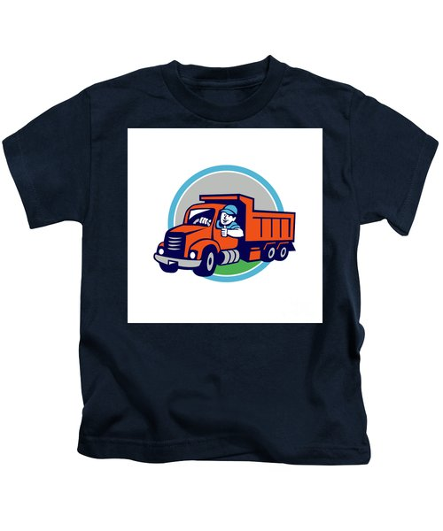 Dump Truck Driver Thumbs Up Circle Cartoon Kids T-Shirt