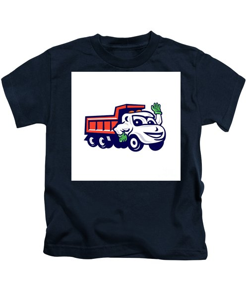 Dump Truck Waving Cartoon Kids T-Shirt