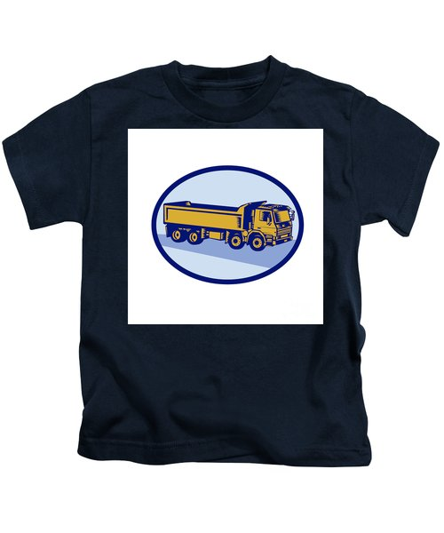 Dumptruck Oval Woodcut Kids T-Shirt