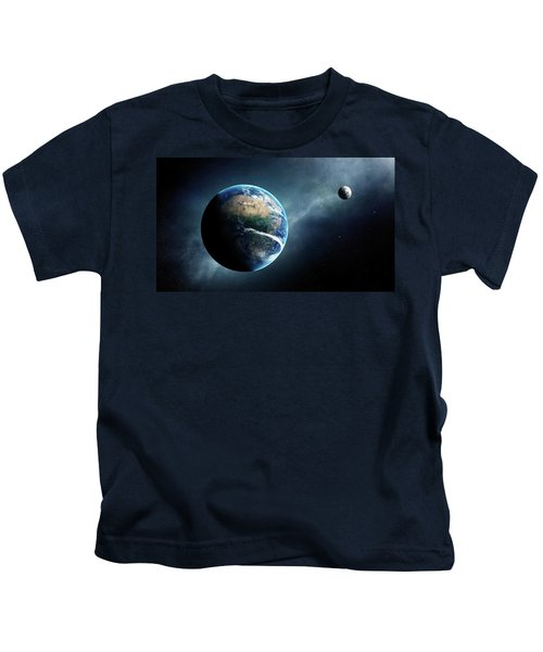 Earth And Moon Space View Kids T-Shirt