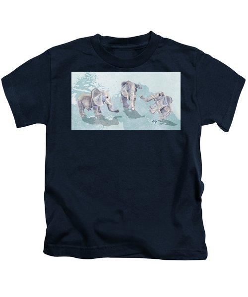 Elephants In Blue Kids T-Shirt